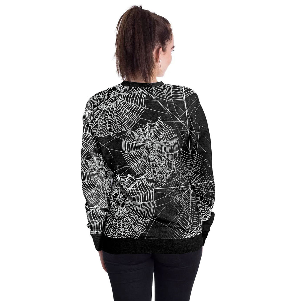 Halloween Spider Web Round Neck Sweater