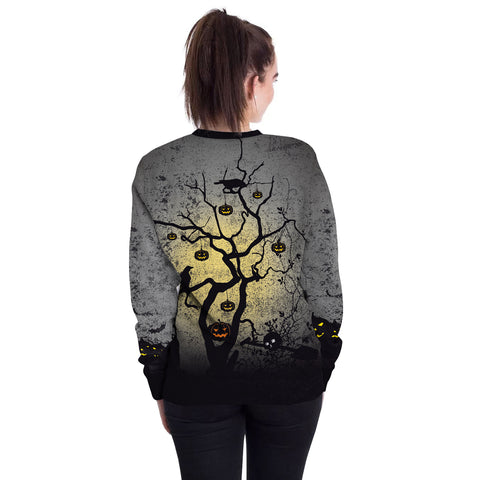 Image of Halloween Pumpkin Tree Round Neck Sweater