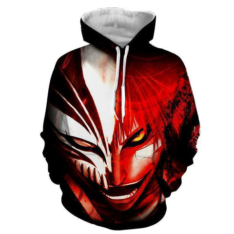 Bleach Ichigo Kurosaki Gone Crazy Hollow Mask 3D Hoodie