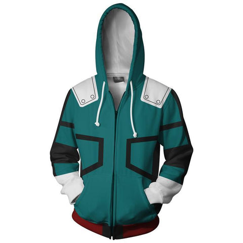 My Hero Academia Hoodies - Coslay Izuku Midoriya Boku No Hero Academia Deku Zip Up Hoodie