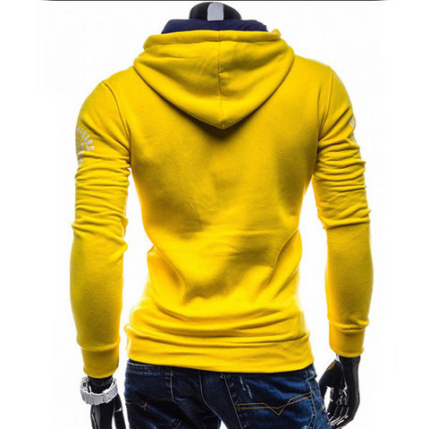 Image of Solid Color Letter Printed Hoodies - Pullover Fleece Yellow Black Hoodie