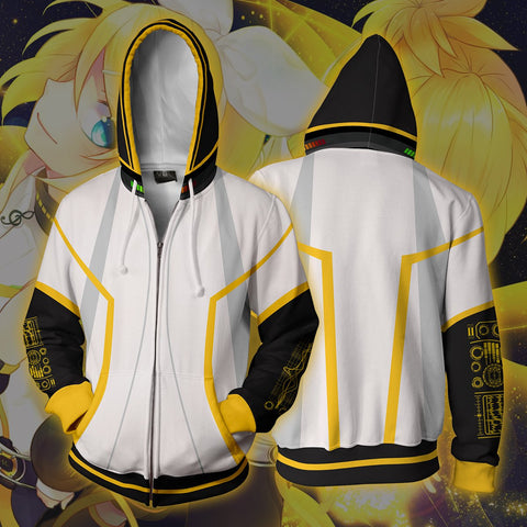 Image of Vocaloid Kagamine Rin/Len Hoodies - Zip Up White Hoodie