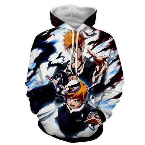Image of Bleach Kid Ichigo & Adult Ichigo Soul King 3D Hoodie