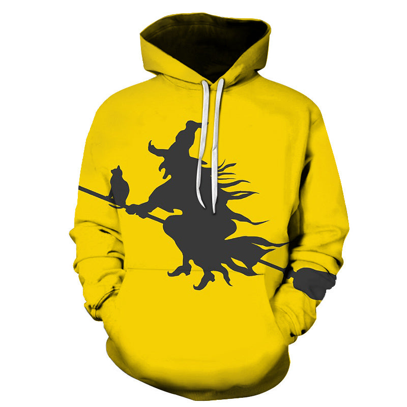Riding a Broom Devil Print Halloween Hoodie