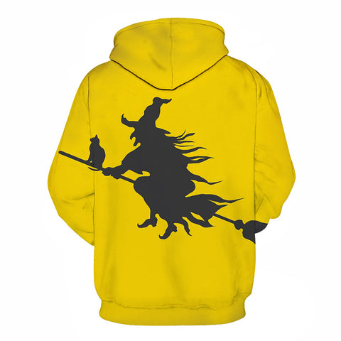 Image of Riding a Broom Devil Print Halloween Hoodie
