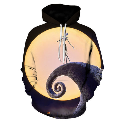 Image of Halloween Jack Skellington Sing to the moon 3D Printed Hoodie