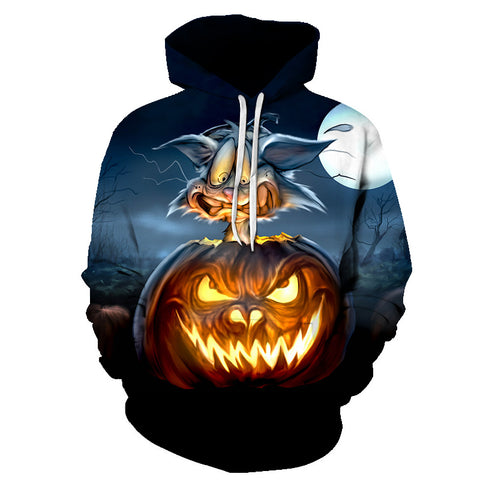 Image of Halloween Evil pumpkin lantern and Cat 3D Printed Hoodie