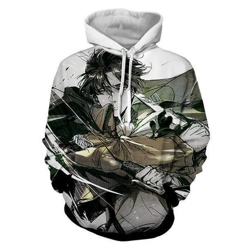 Image of Levi Ackerman Attack On Titan 3D Printed Hoodie