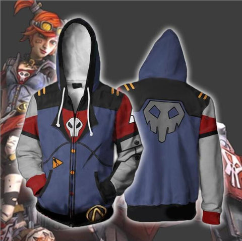 Image of Borderlands 2 Gaige Hoodies - Zip Up Grey-blue Hoodie
