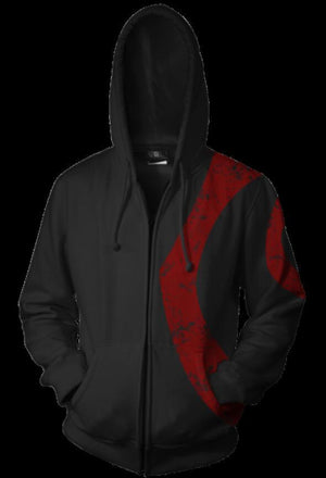 God of War Kratos Hoodies - Zip Up Black Hoodie