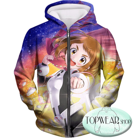 My Hero Academia Hoodies - Cute Zero Gravity Ochaco Uraraka Zip Up Hoodie