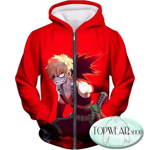 Image of My Hero Academia Hoodies - Explosion Quirk Kacchan Action Zip Up Hoodie