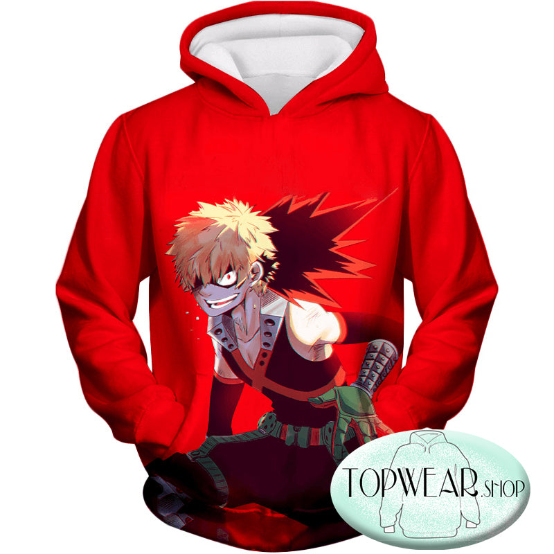 My Hero Academia Hoodies - Explosion Quirk Kacchan Action Zip Up Hoodie