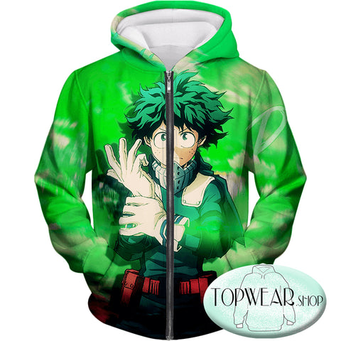 Image of My Hero Academia Hoodies - One for All Izuki Midoriya Zip Up Hoodie
