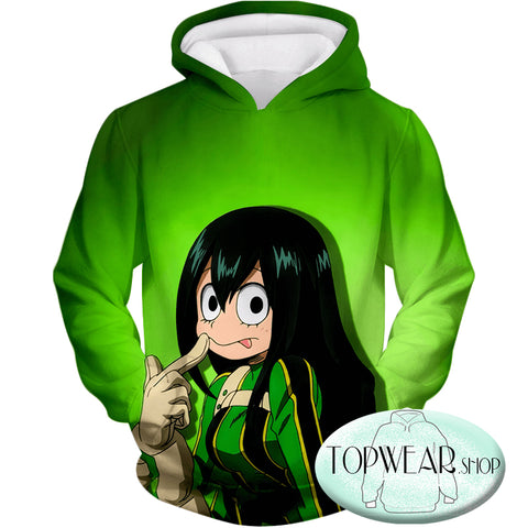 Image of My Hero Academia Sweatshirts - Green U.A High Hero Tsuyu Asui Sweatshirt