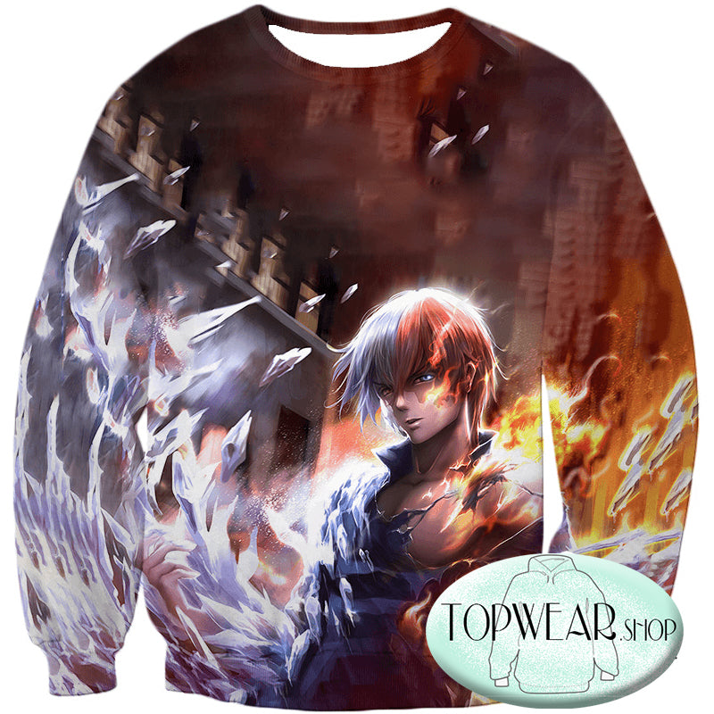 My Hero Academia Hoodies - Half-Hot Half-Cold 3D Shoto Todoroki Fan Pullover Hoodie