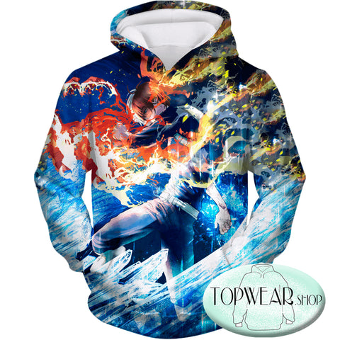 Image of My Hero Academia Sweatshirts - Incredible Todoroki Shoto Battle Action Ultimate Sweatshirt