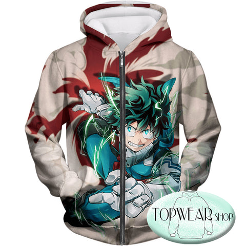 Image of My Hero Academia Hoodies - One for All Hero Academia Deku Pullover Hoodie