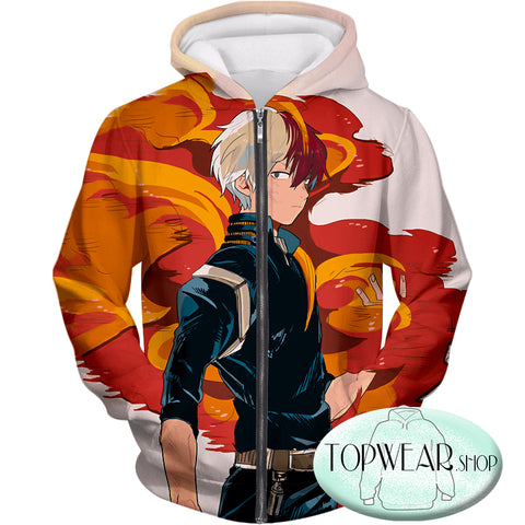 Image of My Hero Academia Hoodies - Most Favourite Hero Half Cold Half Hot Shoto Pullover Hoodie