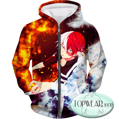 Image of My Hero Academia Hoodies -  Anime Hero Shoto Todoroki Quirk Half Cold Half Pullover Hoodie
