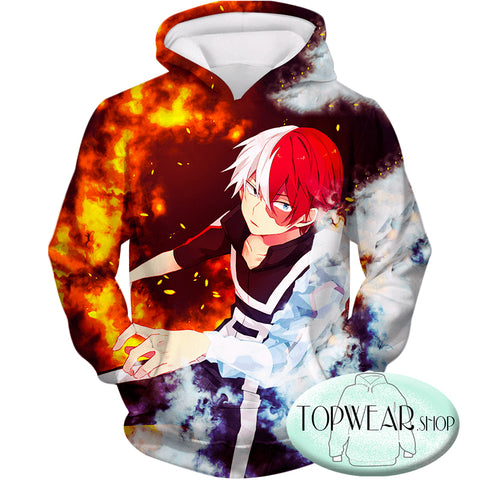 Image of My Hero Academia Sweatshirts - Anime Hero Shoto Todoroki Quirk Half Cold Half Sweatshirt