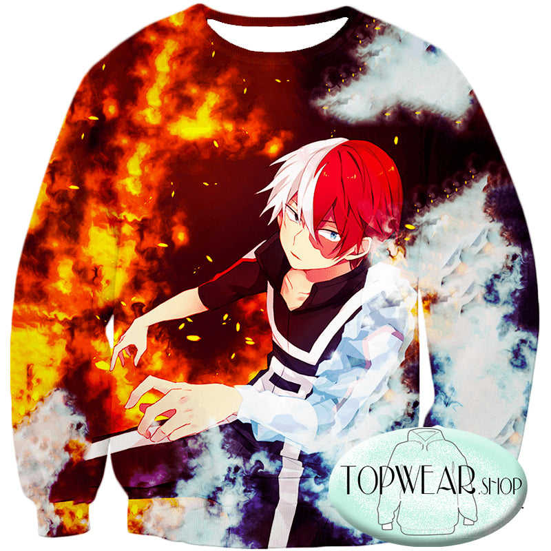 My Hero Academia Sweatshirts - Anime Hero Shoto Todoroki Quirk Half Cold Half Sweatshirt