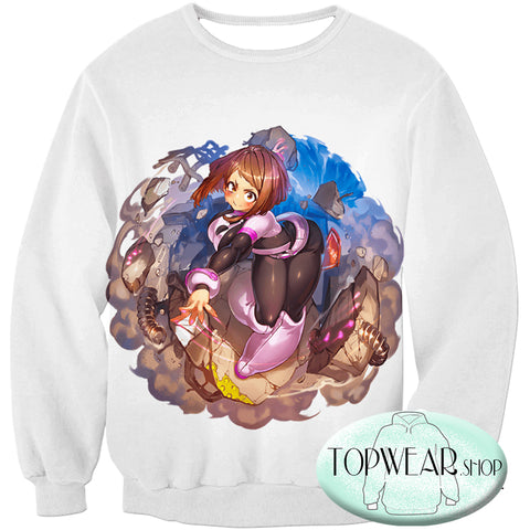 Image of My Hero Academia Hoodies - Super Cute Gravity Girl Uraraka Action Pullover Hoodie