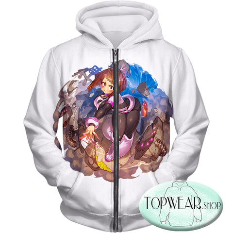 Image of My Hero Academia Hoodies - Super Cute Gravity Girl Uraraka Action Zip Up Hoodie