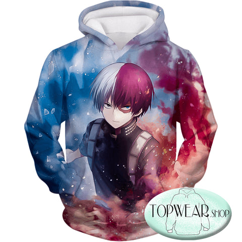 Image of My Hero Academia Hoodies - Super Skilled Half Cold Half Hot Hero Shoto Ultimate Zip Up Hoodie