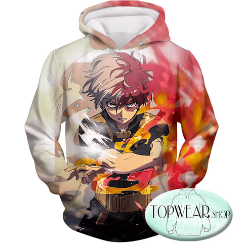 Image of My Hero Academia Hoodies - Shoto Todoroki Half Cold Half Hot Hero Action Zip Up Hoodie