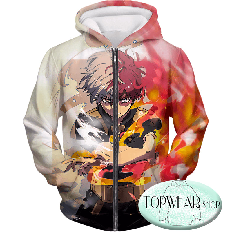 My Hero Academia Hoodies - Shoto Todoroki Half Cold Half Hot Hero Action Zip Up Hoodie