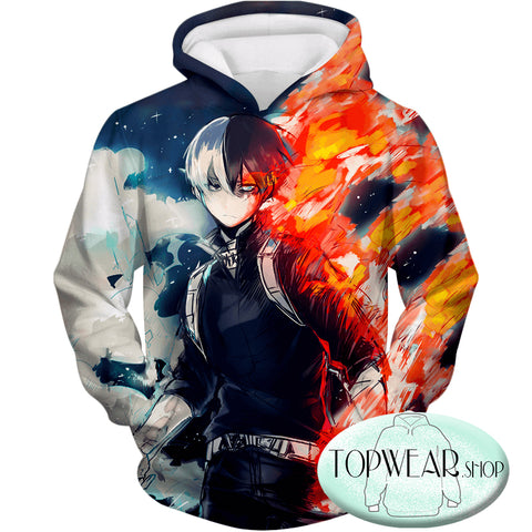 Image of My Hero Academia Sweatshirts - Blazing Hot and Icy Cold Half Cold Half Hot Shoto Sweatshirt