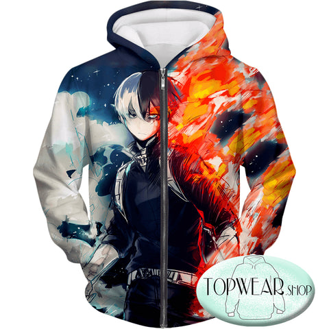 Image of My Hero Academia Hoodies - Blazing Hot and Icy Cold Half Cold Half Hot Shoto Pullover Hoodie