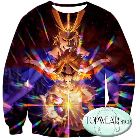 Image of My Hero Academia Sweatshirts -Number One Hero All Might One for All Holder Sweatshirt