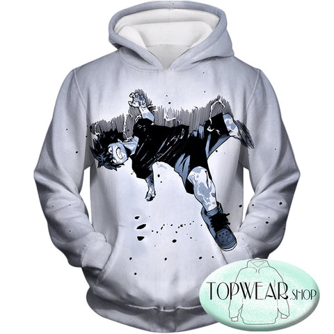 Image of My Hero Academia Hoodies - Cool Izuki Midoriya AKA Deku White Fan Zip Up Hoodie