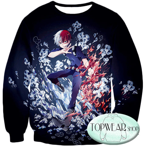 Image of My Hero Academia Sweatshirts - Shoto Todoroki Awesome Anime Sweatshirt
