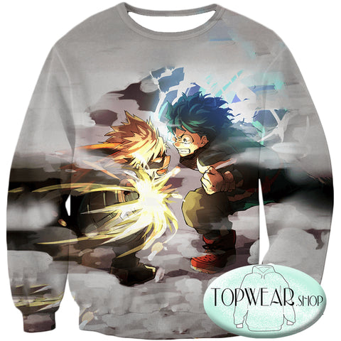 Image of My Hero Academia Hoodies - Midoriya Vs Bakugo Action Pollover Hoodie