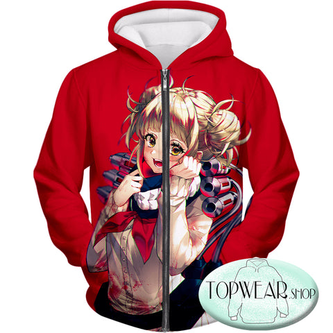 Image of My Hero Academia Hoodies - -Cute Anime Villain Himiko Toga Awesome Zip Up Hoodie