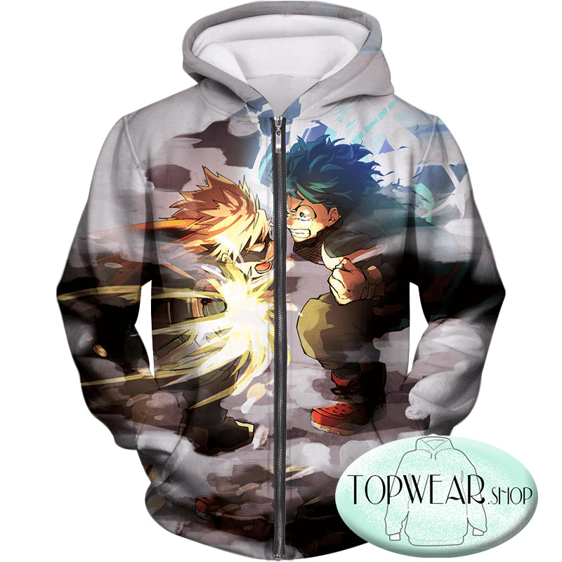 My Hero Academia Hoodies - Midoriya Vs Bakugo Action Pollover Hoodie