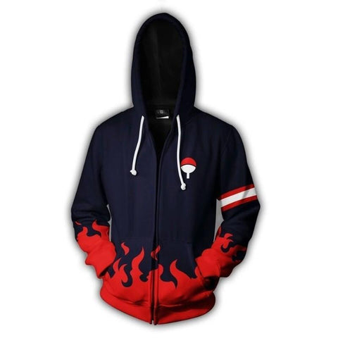 Image of Naruto Hoodies - Uchiha Clan Zip Up Hoodie