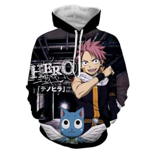 Image of Fairy Tail Natsu Black Cat 3D Printed Hoodie