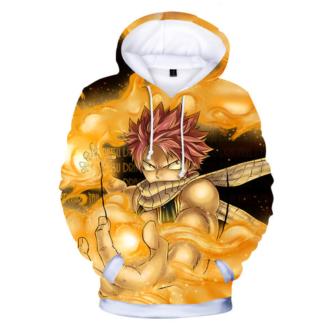 Fairy Tail Hoodies - Fairy Tail Natsu Dragneel Fighting Super Cool Yellow Hoodie