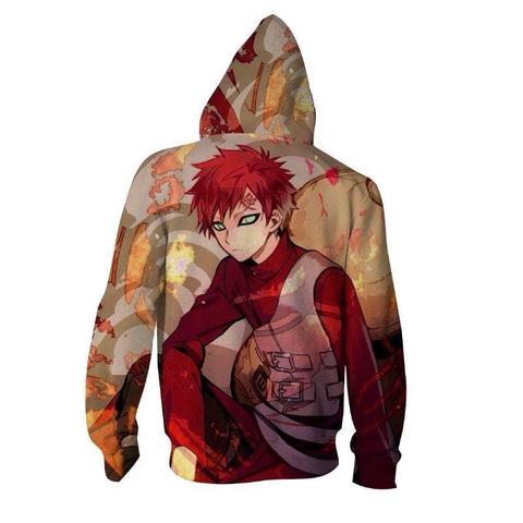Image of Naruto Gaara Handsome Portrait Print Zip Hoodie