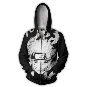 Naruto Hoodies - Kurama 9 Tails Black And White Zip Up Hoodie