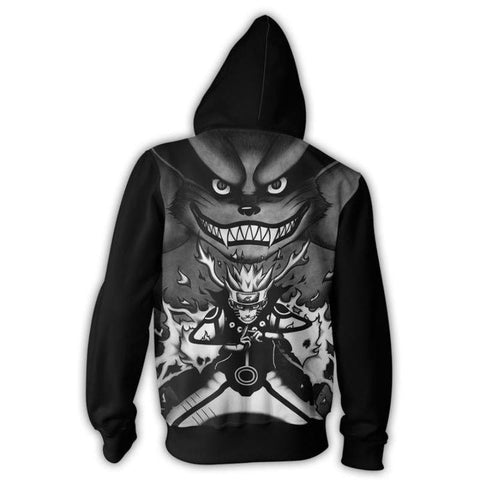 Image of Naruto Hoodies - Kurama 9 Tails Black And White Zip Up Hoodie