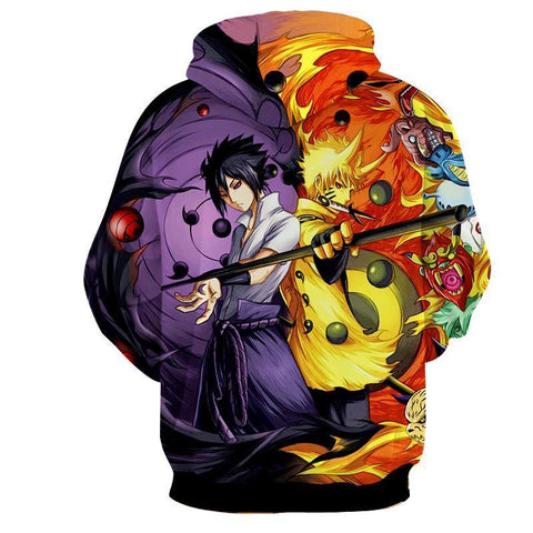 Image of Naruto Sasuke Power Jinchuuriki Sharingan Pattern Hoodie