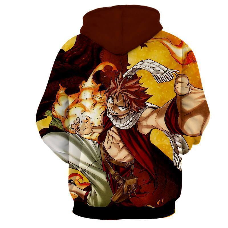 Natsu Dragneel Fairy Tail Brown & Yellow 3D Hoodies