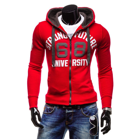 Image of Solid Color 66 Letter Printed Hoodies - Zip Up Fleece Red Black Hoodie