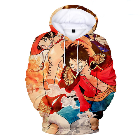 One Piece Hoodies - One Piece Series Anime Ace Smiling Super Cool Hoodie