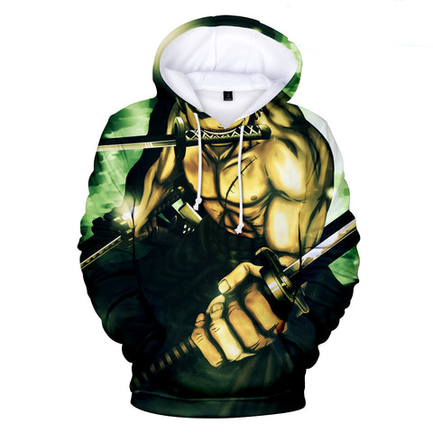 One Piece Hoodies - One Piece Series Anime Roronoa Zoro Green Super Cool Hoodie